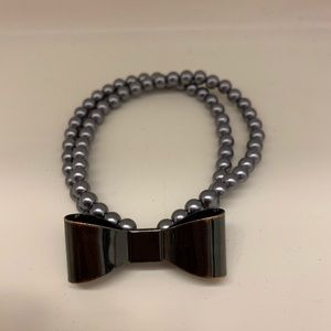 H&M Gunmetal Beaded Bow Bracelet